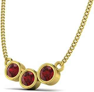 Pendants Necklaces for Girls Red Garnet Color Stone January Birthstone Gold Plated Brass Jewelry for Women with Free Chain