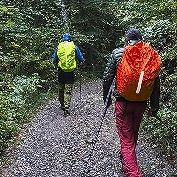 KATOOM 2 PCS Housse de pluie sac à dos sac d'école protection contre la pluie imperméable housse de pluie sacoche pour camping en plein air randonnée avec bandes réfléchissantes ,Orange+ Vert 45L