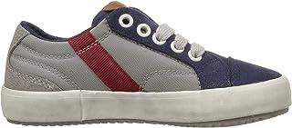 Geox Jr Alonisso Boy 1-K Sneaker, Grey/Blue, 26 EU(9 M US Toddler)