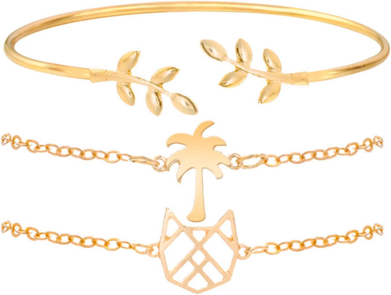Girls' Fashion,Bracelet,3Pcs/Set Creative All-Match Adjustable Leaf Coconut Tree Bracelet Cuff Bangle Jewelry Accessory - Golden