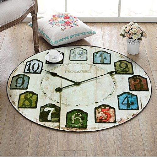 Onbekend #Woonkamertapijt, rond tapijt, creatieve retro wandklok, tapijt, slaapkamer, woonkamer, tapijt