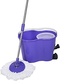 Super buy Microfiber Spinning Mop Easy Floor Mop W/Bucket 2 Heads 360 Rotating Head Purple
