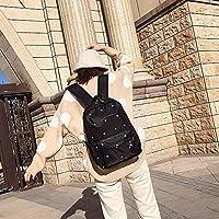 林小足跡パターン防水オックスフォード布ショルダーバックパッケージカジュアルハンドバッグショルダーバッグ(ブラック) Chenhuis (Color : Black)