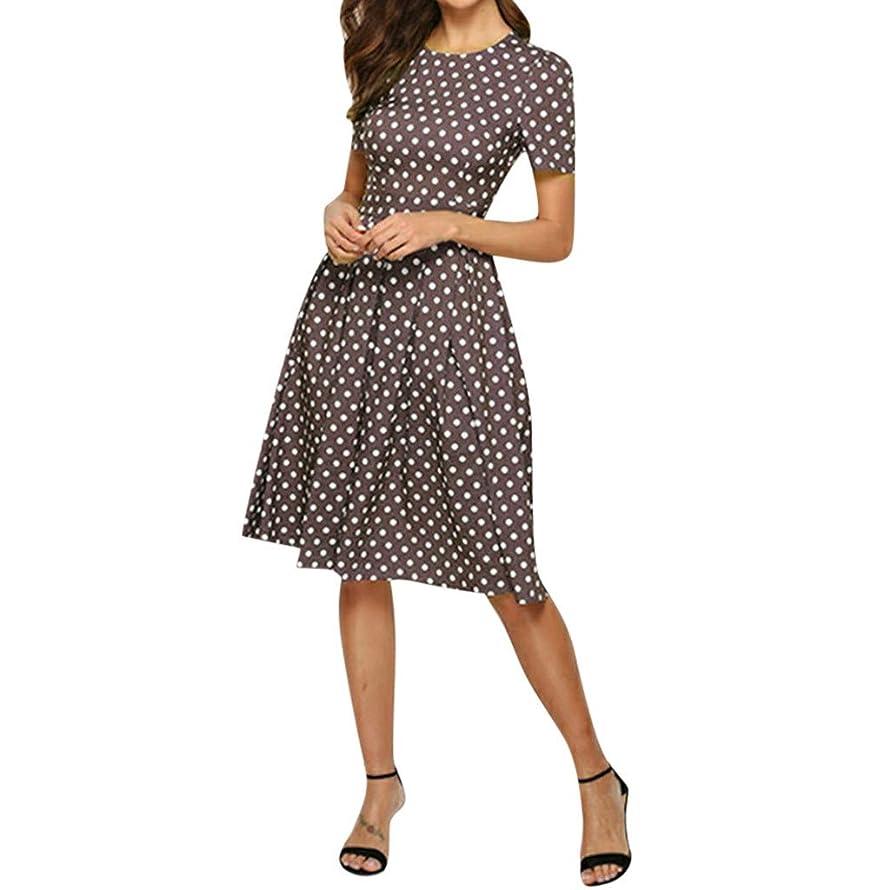 Lefthigh Vintage Polka Dot Short Sleeve Dress Women Elegant Sashes Knee-Length A-Line Casual Dress