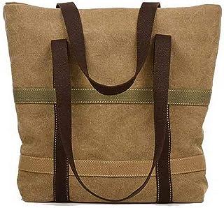 Shoulder Bag Women's Canvas Zippers Fashion Shoulder Bags Tote Bags Handbag Clutch (Color : Khaki, Size : One Size)
