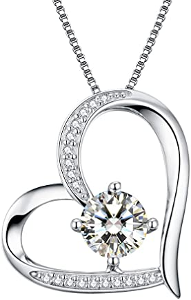 55863a94caf Heart Necklace 5A Cubic Zirconia Love Necklace 14k White Gold Plated  Pendant Necklaces for Women