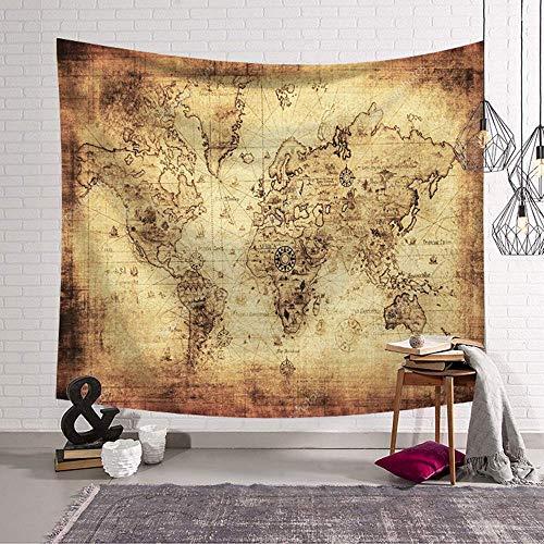 Enhome Tapiz Pared Decoracion Grande, Mapa del Mundo Hippie Tapicería Colgante De...