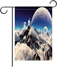 Double Sided Flag Garden Flag Holiday Decoration Bedroom Decor Celestial View of Snow Capped Mountains and A Transparent Alien Planet Garden Flags Perfect For Party Yard, Patio, Porch or Veranda