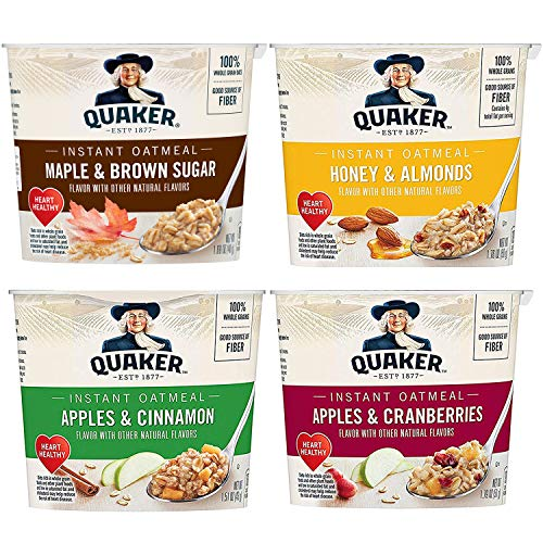 Quaker Instant Oatmeal Express Cups, 4 Flavor Variety Pack, 12 Count
