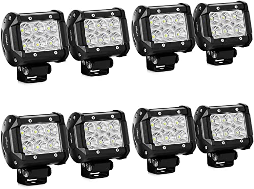 Nilight LED Light Bar 8PCS 4Inch 18W LED Bar 1260lm Flood Led Off Road Driving Lights Led Fog Lights Jeep Lighting LE...