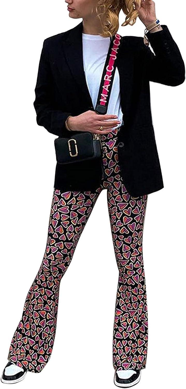 Women's Skinny Flared Pants High Waist Heart/Flower Print Bell Bottom Pants Y2K Vintage Streetwear
