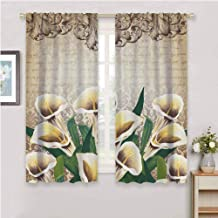 Floral Greenery Floral Decor Calla Lilly Flowers Decoration Vintage Design Retro Pattern Baroque Frame Bouquet Insulating Room Darkening Blackout Yellow Beige Green Soundproof Shade W54 x L39 Inch