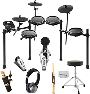 Alesis Nitro Mesh Electronic Drum Kit + DJ Headphones + On Stage Drum Stick Holder DA100 + Braced Drum Throne + Maple Wood 5B Drumsticks - Photo4Less Clean Cloth- Top Accessory Bundle