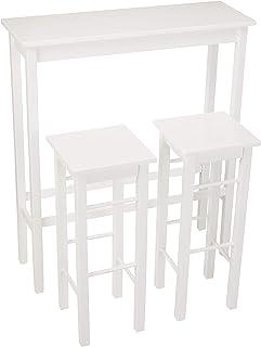 Amazon Basics – Juego de mesa auxiliar y taburetes de desayuno 3piezas Blanco