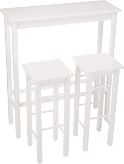AmazonBasics Breakfast Bar Bistro Table - 3-Piece Set, White