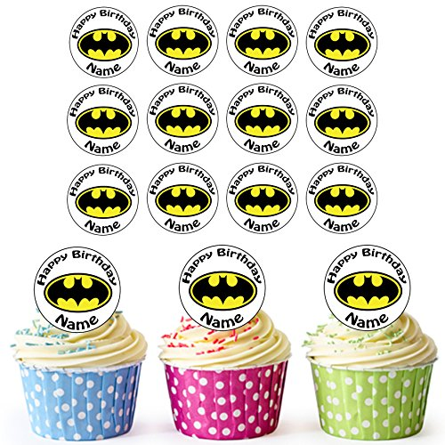 Vorgeschnittenes Personalisiertes Batman Logo - Essbare Cupcake Topper / Kuchendekorationen (24 Stück)