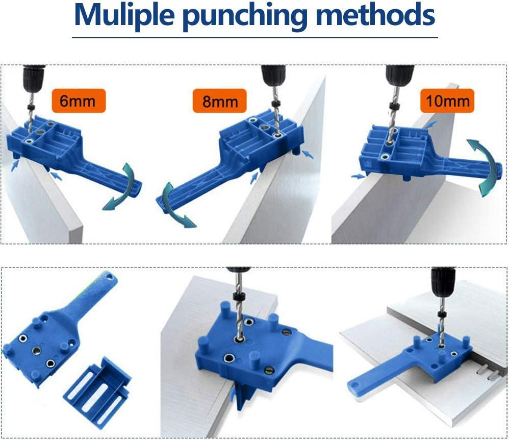 kit de plantilla con centrador giratorio de 6 mm//8 mm//10 mm Juego de 41 plantillas de taladro con gu/ía para taladrar tacos de madera con tope paralela
