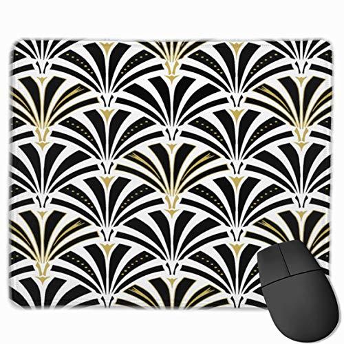 rutschfeste Mousepad Retro Art Fashion Deco Fan Muster Schwarz-Weiß-Mäuse-Mausmatte für Computerspieler