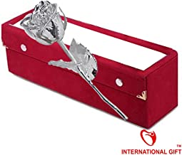 International Gift Silver Plated Natural Rose 15 cm with Beautiful Velvet Box Packing (15 cm, Silver)