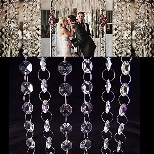 Crystal Beads Chains,niCWhite 33FT Acrylic Beads Garland Curtain Strands,Octagonal Beaded Chandelier Chain,Beads String Roll For DIY Wedding Christmas Ornaments Garland
