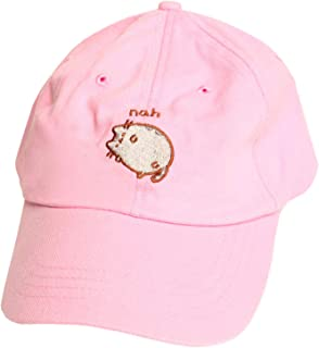Pusheen Cat Nah Embroidered Adjustable Strapback Baseball Cap Hat - Pink
