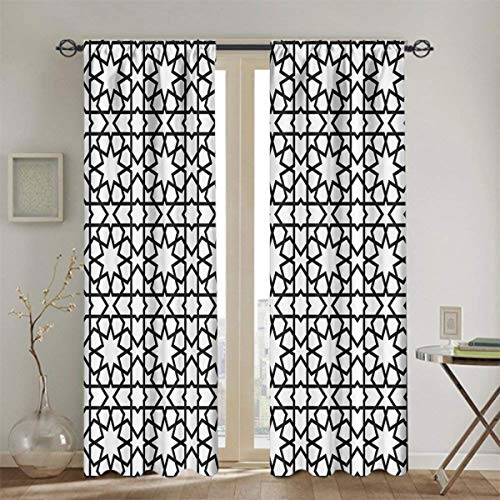 nooweihome Moroccan Decor Collection Black Out Window Curtain Moroccan Style Mosaic Ornament Geometric Patterns Classic Decorative Art Print Curtain Doorway W55 x L39 Black White