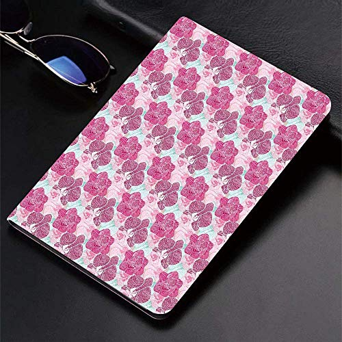 Case for iPad (9.7-Inch, 2018/2017 Model, 6th/5th Generation)Ultra Slim Lightweight Smart Cover,Floral,Artistic Orchid Blossoms in Pink and Mint Shades and Grunge Effect T,Smart Covers Auto Wake/Sleep