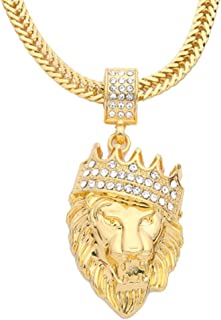 New Mens Full Iced Out Rhinestone Lion Tag Pendant Cuban Chain Hip Hop Necklace