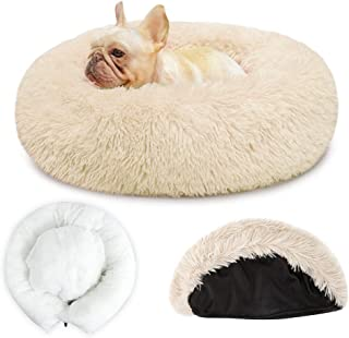 SlowTon Dog Calming Bed with Removable Cover, Warm Donut Cat Dog Bed Soft Plush Cushion with Cozy Sponge Non-Slip Bottom f...