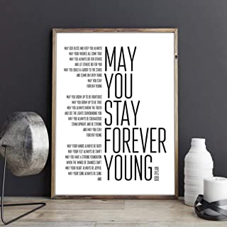 JYDFC Bob Dylan Forever Young Song Lyrics Poster Art Painting, Black and White Lyrics Canvas Art Print Home Music Poster Wall Decor 70x120cm