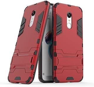 MaiJin Funda para Xiaomi Redmi 5 (5,7 Pulgadas) 2 en 1 Híbrida Rugged Armor Case Choque Absorción Protección Dual Layer Bumper Carcasa con Pata de Cabra (Rojo)
