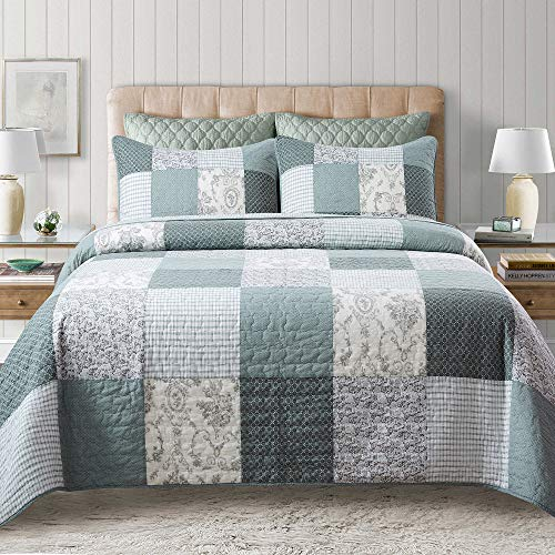 Soul & Lane Memory Lane 100% Cotton 3-Piece Patchwork Bedding Quilt Set - King with 2 Shams | Sage Country Quilted Bedspread