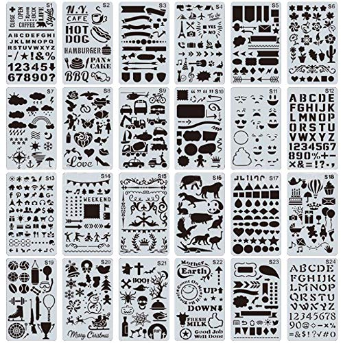 yyuezhi DIY Tekenen Schilderen Craft Stencils Schaal Sjabloon Sets Journal Stencils voor Journal Notebook Dagboek Scrapbook DIY Card Vormen Stencils Graphics Stencils Tekening Sjablonen Set Planner Stencils