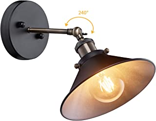 Industrial Wall Sconce, Adjustable Vintage Edison Simplicity Wall Lamp, Loft Style Swing Arm Light Fixtures with Black Metal Shade for Bathroom, Cafe and Club, (NO Plug-in)