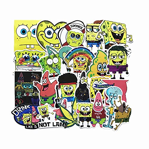 LMY Esponja de dibujos animados pegatinas Bob Pie Big Star lindo personalizado PVC impermeable pegatinas equipaje niños animación pared equipo decoración pegatinas 22 unids