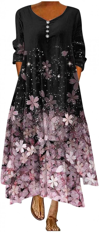ONHUON Long Sleeve Dress for Women Formal,Women's Casual Floral Print Casual Maxi Long Dress Beach Plus Size Dresses