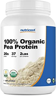 Nutricost Organic Pea Protein Isolate Powder (2LBS) - Unflavored, Certified USDA Organic, Protein from Plants, Vegan Friendly, Gluten Free, Non-GMO