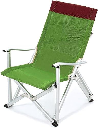 LDFN Chaise De Camping Portable Chaise Multifonctionnelle D'extérieur Fauteuil en Aluminium Paresseux d'or De Dossier,vert-76  60  93cm