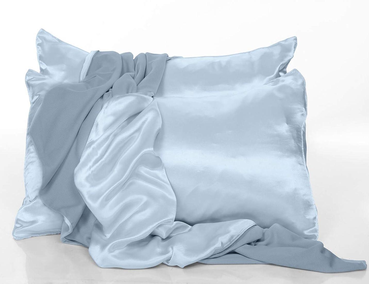 先見の明苦行ラベンダーPJ Harlow モーニングブルーサテンスタンダード枕カバー - 2個セット