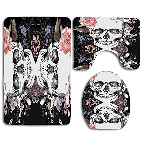 Huayuanhurug Rose Skull Flower 3pcs Set Rugs Toilet Seat Cover Bath Mat Lid Cover Cushions Pads Flannel