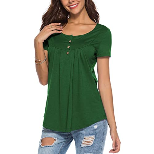 42e2efd72b Peasant Blouse for Women Fashion 2018 Short Sleeve Casual Tunic Neck Button  Top