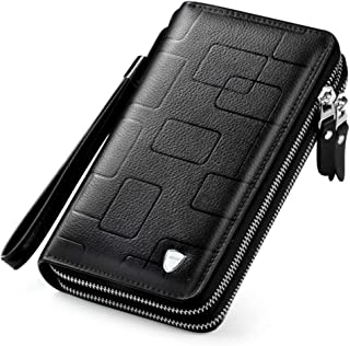 Men's Leather Handbag Large Capacity Business Clutch, Double Zipper Men's Handbag Leather Wallet