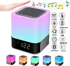 Bluetooth Speaker Night Lights, Alarm Clock Bluetooth Speaker MP3 Player, Touch Control..