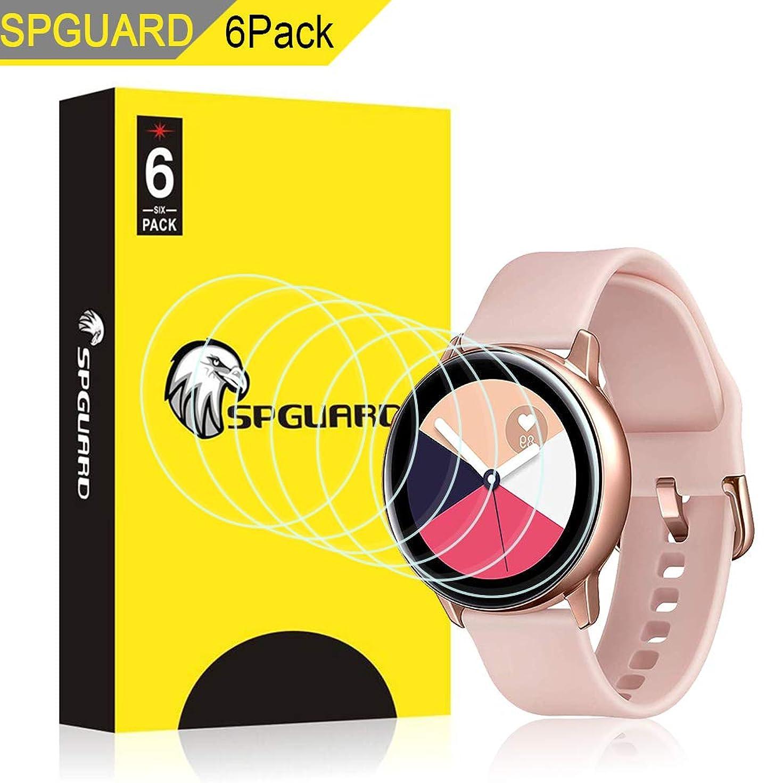 球体ビデオ友情【6 PACK】Kartice Compatible Samsung Galaxy Watch Active 40mm/ Active 2 40mm保護フイルム 水貼りフイルム ケースに干渉せず 貼り直し可 耐指紋 Galaxy Watch Active/Active 2 40mm対応