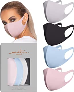 VIRTUE CODE Second Skin Cloth Face Mask Pack. 4 Buttery Soft Masks Washable Fabric