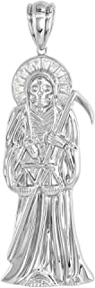 Sterling Silver Cubic Zirconia Santa Muerte Pendant Rhodium Finished, Small to Very Large Size