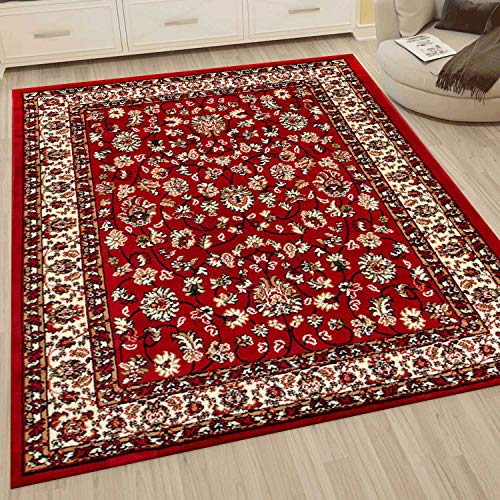 VIMODA Klassisch Orient Teppich dicht gewebt Wohnzimmer Rot Braun, Maße:40x60 cm