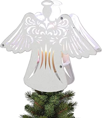 "EAMBRITE 11"" Hollow Christmas Angel Tree Topper with Rotating Magic Ripple Projector for Crown Xmas Tree Topper Decoratio"