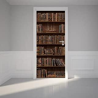 Door Wall Sticker Wooden Bookshelf with Antique Books - Peel & Stick Repositionable Fabric Mural