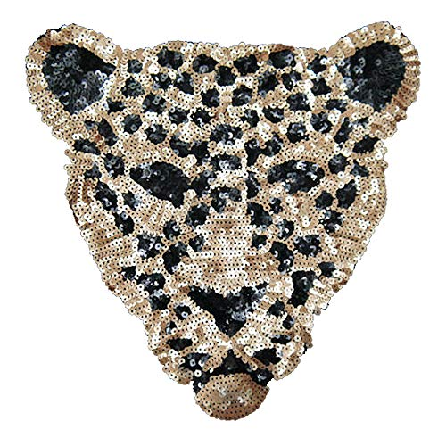 ARTEM Sequins Leopard Head Patch Sew on Patch Rope Embroidered Sequins Pattern Cloth Stickers for Decoration Clothing 1 Pcs